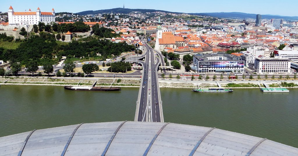 Bratislava things to do - View from UFO Bridge