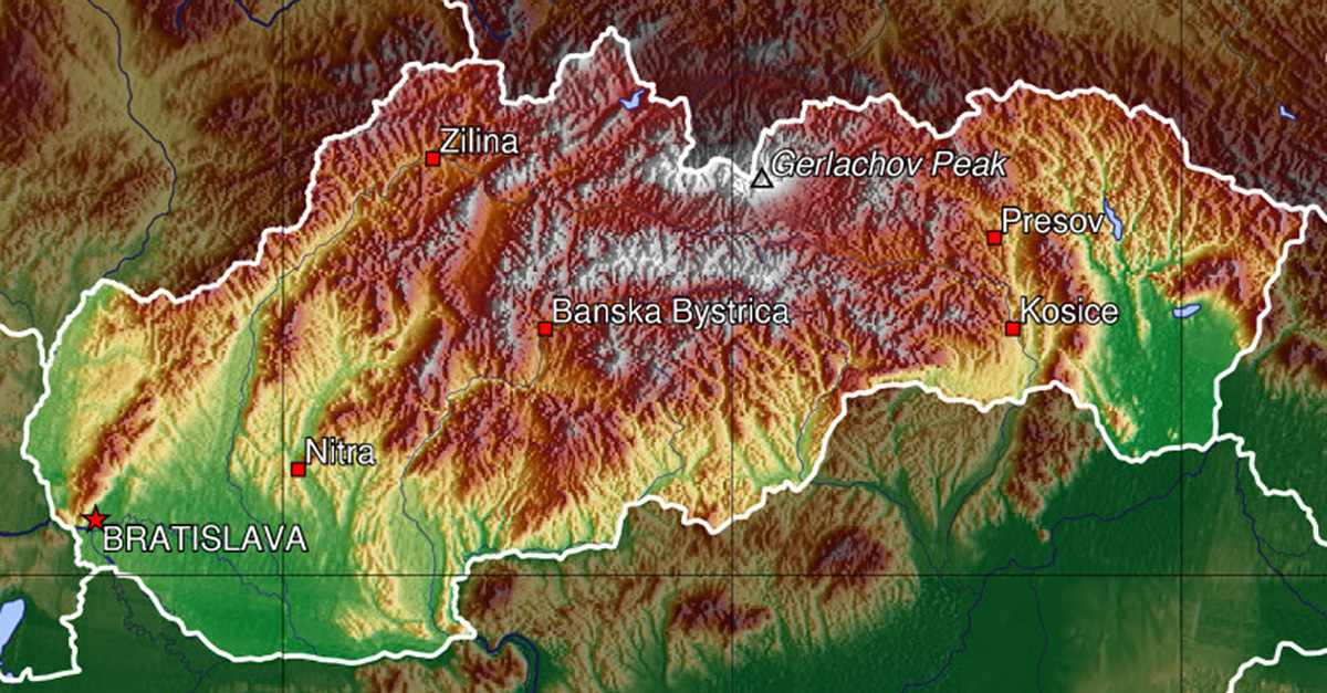 Slovakia Topographical Map